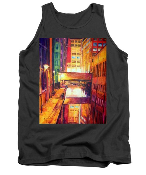 Rochdale Canal With Lock At Night Tank Top