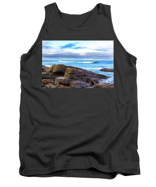 Tank Top featuring the photograph Rock And Wave by Perry Webster