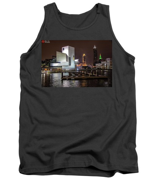 Tank Top featuring the photograph Rock Hall Of Fame And Cleveland Skyline by Peter Ciro