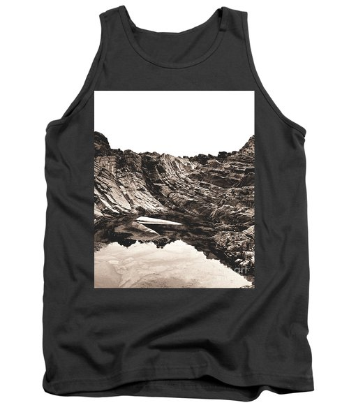 Tank Top featuring the photograph Rock - Sepia Detail by Rebecca Harman