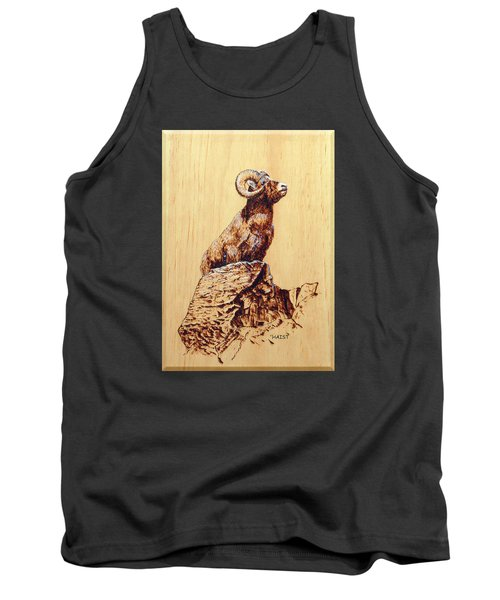 Tank Top featuring the pyrography Rocky Mountain Bighorn Sheep by Ron Haist