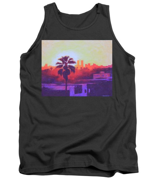 Tank Top featuring the painting Rooftop Glow by Andrew Danielsen