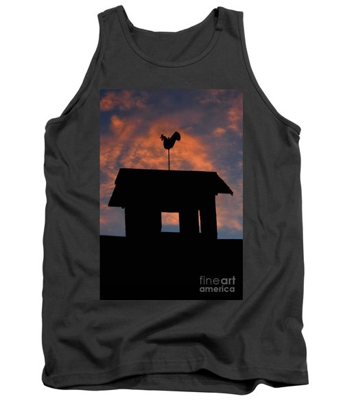 Rooster Weather Vane Silhouette Tank Top by Henry Kowalski