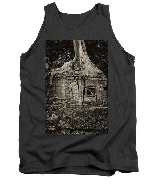 Tank Top featuring the photograph Roots In Ruins 5, Ta Prohm, 2014 by Hitendra SINKAR