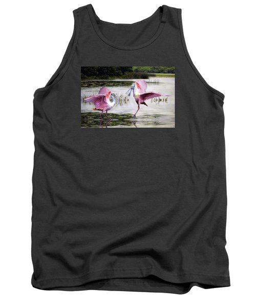 Tank Top featuring the photograph Roseate Spoonbills Sparring. by Brian Tarr