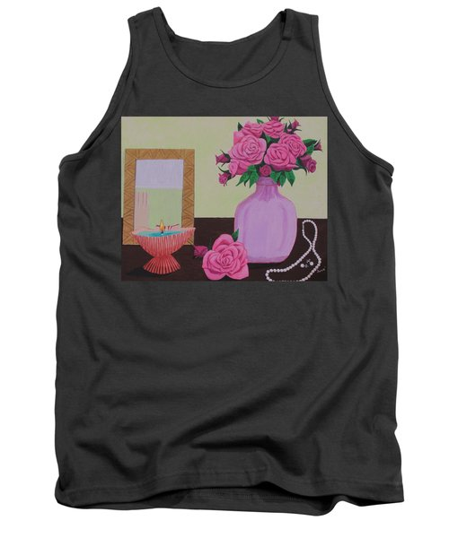 Roses And Pearls Tank Top by Hilda and Jose Garrancho