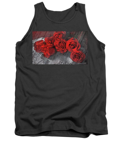 Tank Top featuring the photograph Roses On Lace by Bonnie Willis