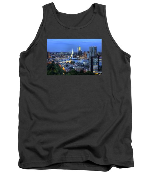 Tank Top featuring the photograph Rotterdam Skyline With Erasmus Bridge by Shawn Everhart