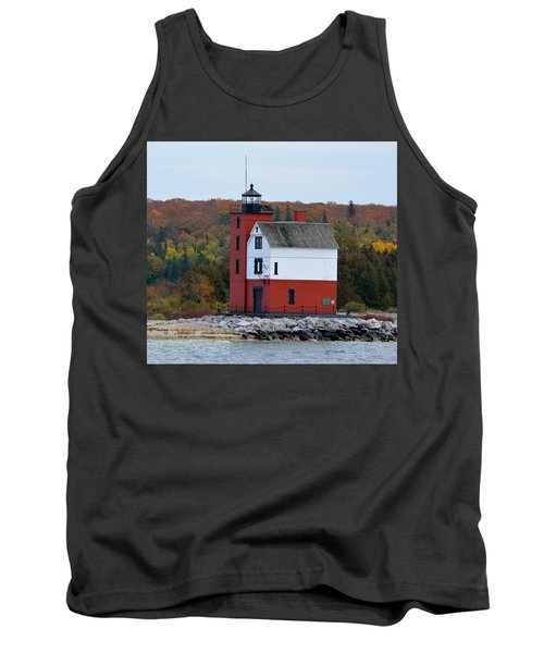 Round Island Lighthouse In October Tank Top