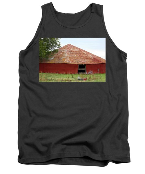 Tank Top featuring the photograph Round Red Barn by Sheila Brown
