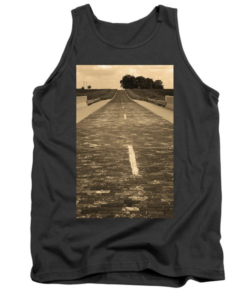 Tank Top featuring the photograph Route 66 - Brick Highway 2 Sepia by Frank Romeo