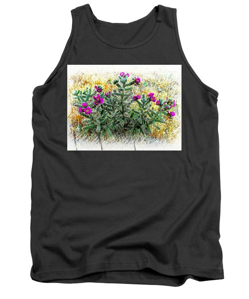 Royal Gorge Cactus With Flowers Tank Top by Joseph Hendrix