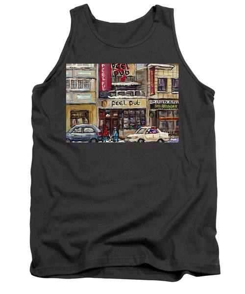 Rue Peel Montreal Winter Street Scene Paintings Peel Pub Cafe Republique Hockey Scenes Canadian Art Tank Top