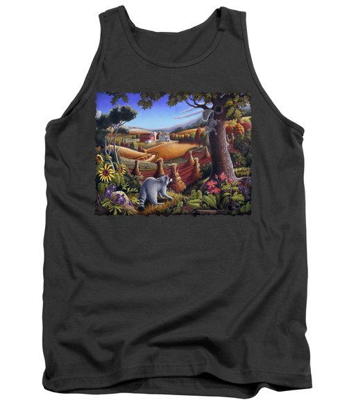 Rural Country Farm Life Landscape Folk Art Raccoon Squirrel Rustic Americana Scene  Tank Top