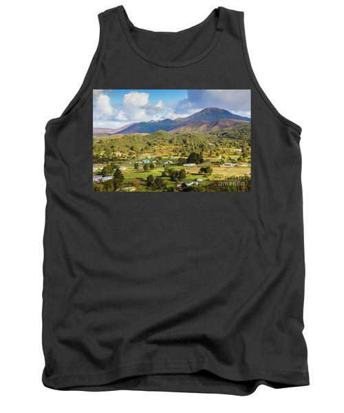 Rural Landscape With Mountains And Valley Village Tank Top