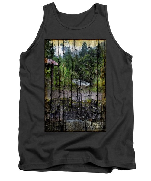 Rushing Cascade In The Andes - On Bark Tank Top by Al Bourassa