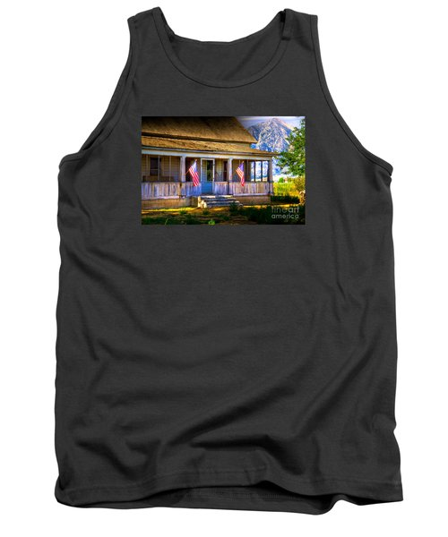 Tank Top featuring the photograph Rustic Patriotic House by Kelly Wade