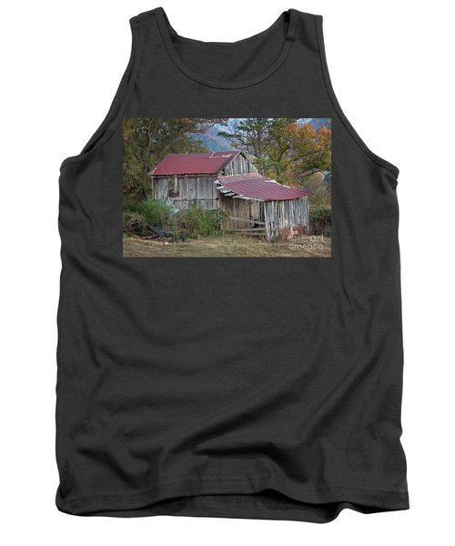 Tank Top featuring the photograph Rustic Weathered Hillside Barn by John Stephens