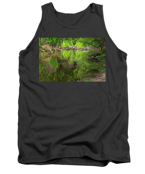 Tank Top featuring the photograph Sabino Reflection Op53 by Mark Myhaver