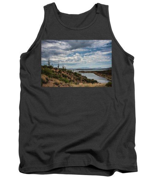 Tank Top featuring the photograph Saguaro With A Lake View  by Saija Lehtonen