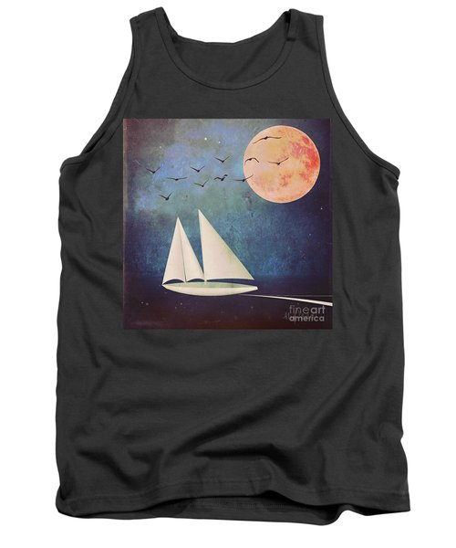 Tank Top featuring the digital art Sail Away by Alexis Rotella