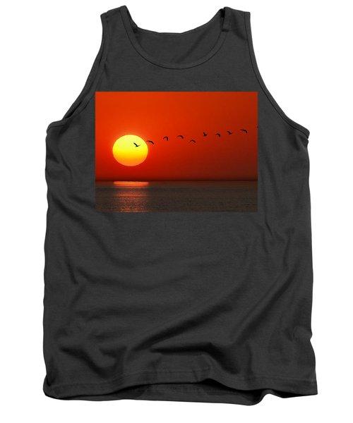 Tank Top featuring the photograph Sailboat At Sunset by Joe Bonita