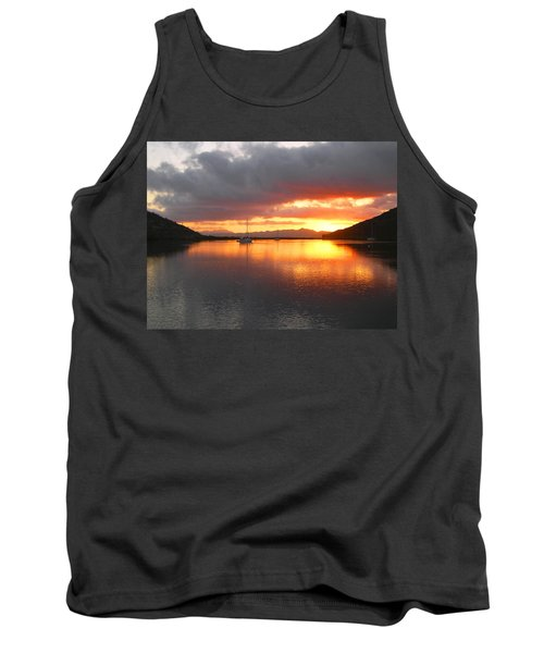 Sailboats At Sunrise In Puerto Escondido Tank Top by Anne Mott