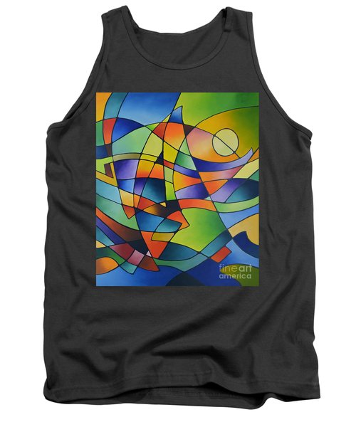 Sailing Away, Canvas Two Tank Top by Sally Trace