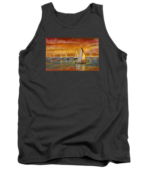 Tank Top featuring the digital art Sailing Into The Sunset by Darren Cannell