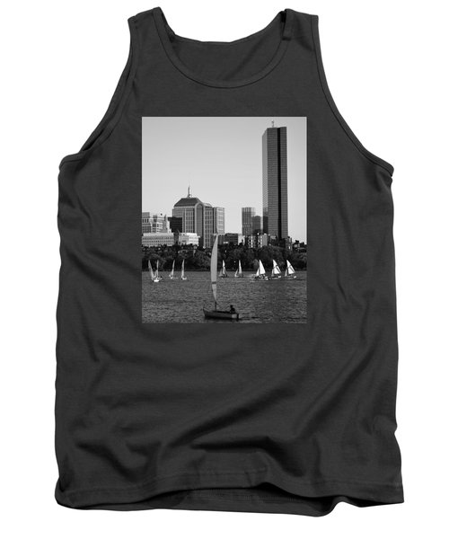 Sailing The Charles River Boston Ma Black And White Tank Top