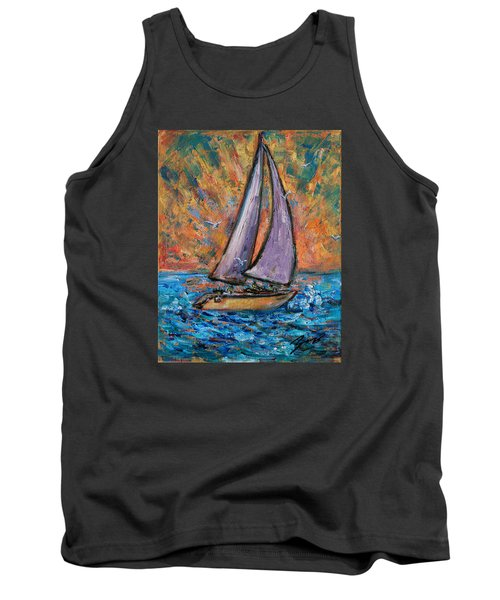 Tank Top featuring the painting Sails Up by Xueling Zou