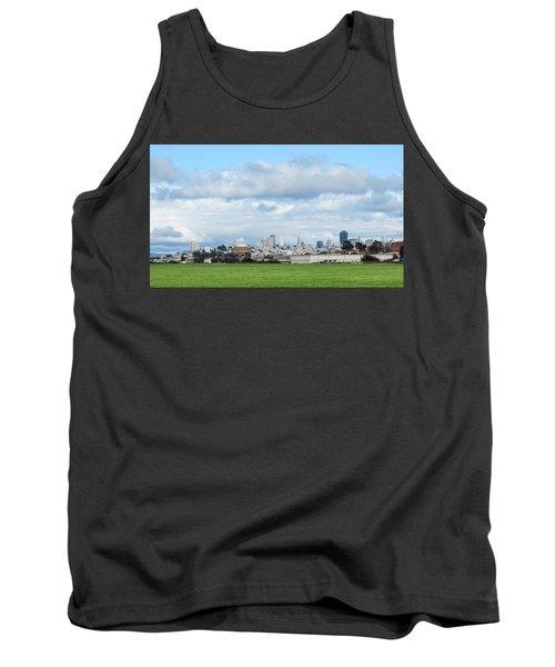 San Francisco Skyline From Crissy Field Tank Top by Mark Barclay
