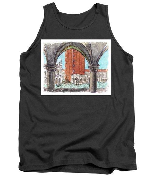 Tank Top featuring the painting San Marcos Square Venice Italy by Irina Sztukowski
