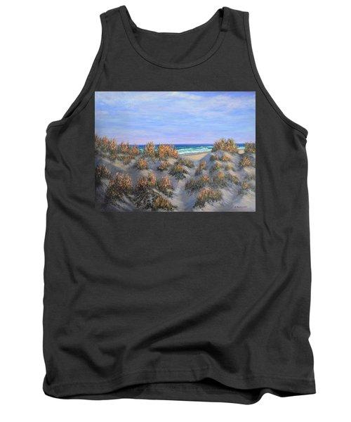 Sand Dunes Sea Grass Beach Painting Tank Top