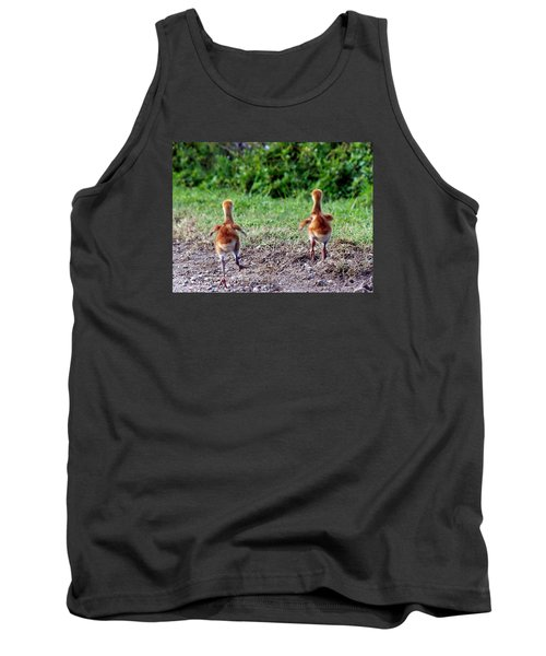 Tank Top featuring the photograph Sandhill Crane Chicks 000 by Chris Mercer
