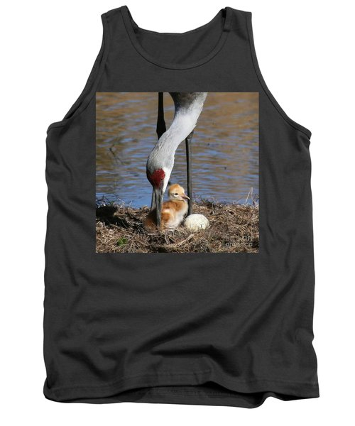 Sandhill Crane New Family Tank Top by Myrna Bradshaw