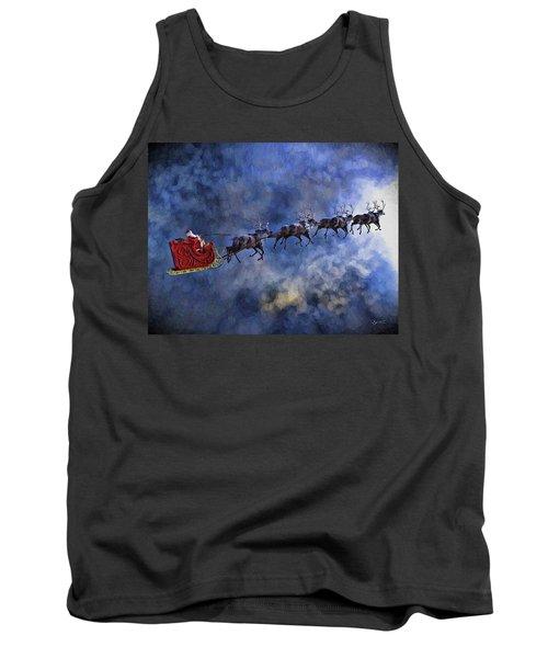 Santa And Reindeer Tank Top by Dave Luebbert