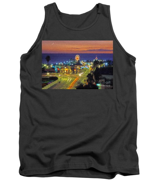 Tank Top featuring the photograph Santa Monica Ca  Pacific Park Pier by David Zanzinger