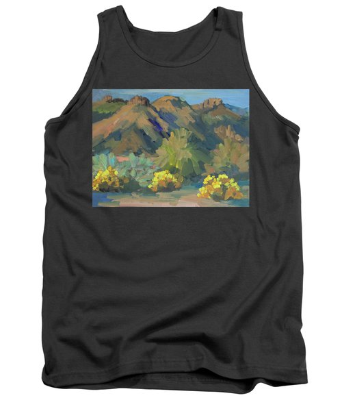 Tank Top featuring the painting Santa Rosa Mountains And Brittle Bush by Diane McClary