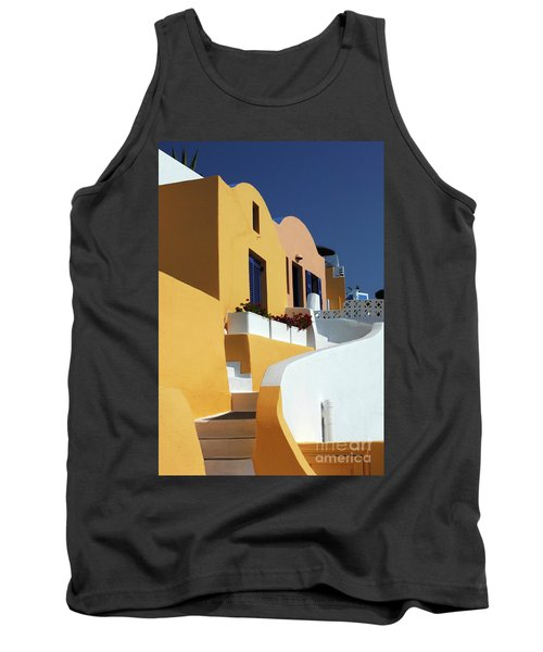 Tank Top featuring the photograph Santorini Greece Architectual Line by Bob Christopher