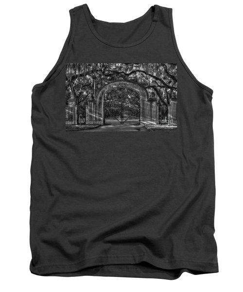 Tank Top featuring the photograph Savannah's Wormsloe Plantation Gate Bw Live Oak Alley Art by Reid Callaway