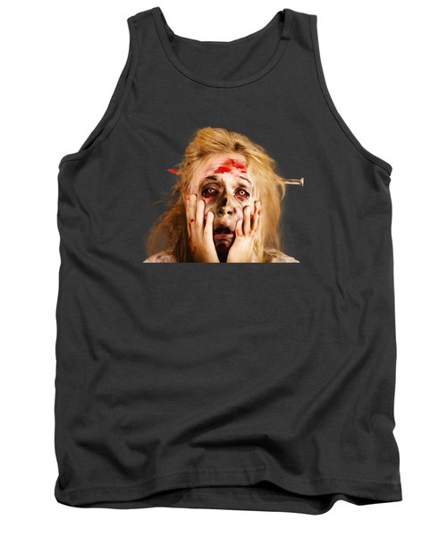 Scared Halloween Monster With Nail Through Head Tank Top by Jorgo Photography - Wall Art Gallery