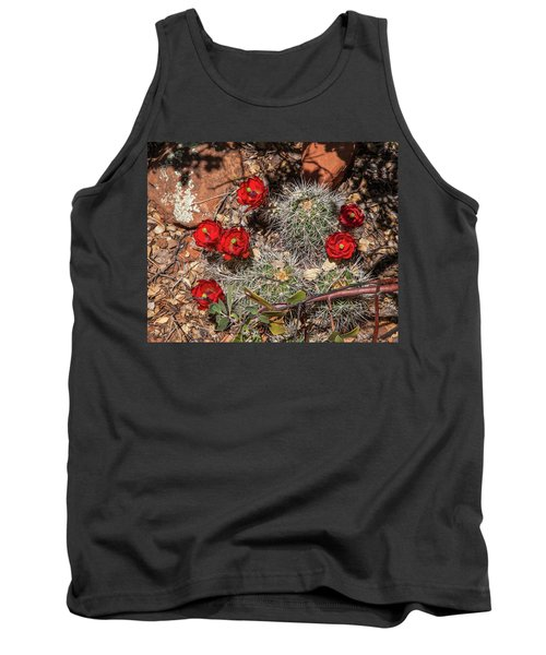 Scarlet Cactus Blooms Tank Top