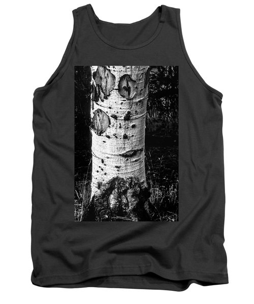 Scarred Old Aspen Tree Trunk In Colorado Forest Tank Top by John Brink