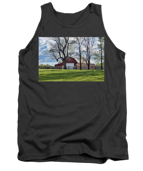 Tank Top featuring the photograph Schooler Road Barn by Cricket Hackmann