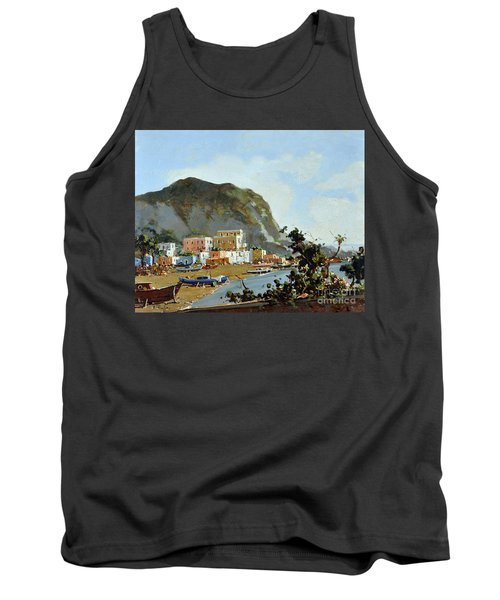 Tank Top featuring the painting Sea And Mountain With Boats by Rosario Piazza