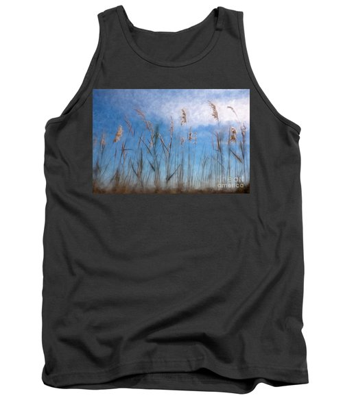 Sea Oats And Sky On Outer Banks Ap Tank Top by Dan Carmichael