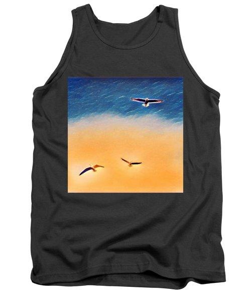 Seagulls Flying In The Burning Sky Tank Top by Paul Mc Namara