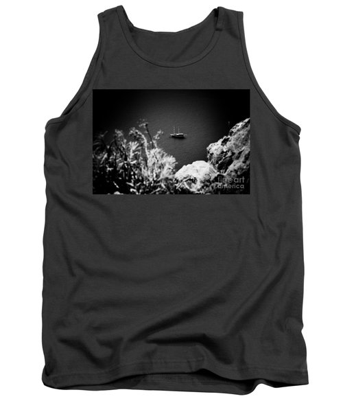 Seascape With Boat Artmif.lv Balck And White Tank Top