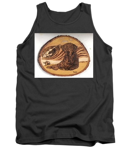Tank Top featuring the pyrography Seaside Sam by Denise Tomasura